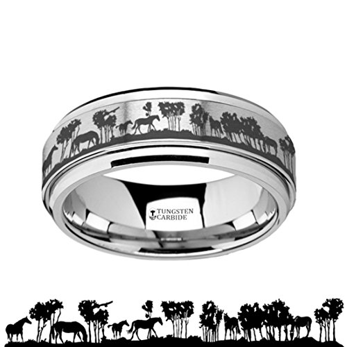 Thorsten Spinning Inside Engraved Wild Horse Scene Tungsten Carbide Spinner 8mm Wide Wedding Band with Custom Inside Engraved Personalized from Roy Rose Jewelry