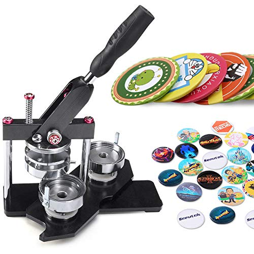 Seeutek Button Maker Machine 2-1/4 inch 58mm Badge Maker with 1100 Pcs Button Parts and 2-1/4 inch 58mm Circle Cutter ()