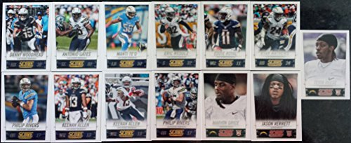 2014 Score Football San Diego Chargers Team Set In a Protective Case - 13 Cards Including Philip Rivers (2), Keenan Allen (2), Jason Verrett RC, Antonio Gates, Danny Woodhead, Ryan Mathews, Eddie Royal, Marion Grice RC, Tevin Reese RC, Manti Te'O, and Eric Weddle.