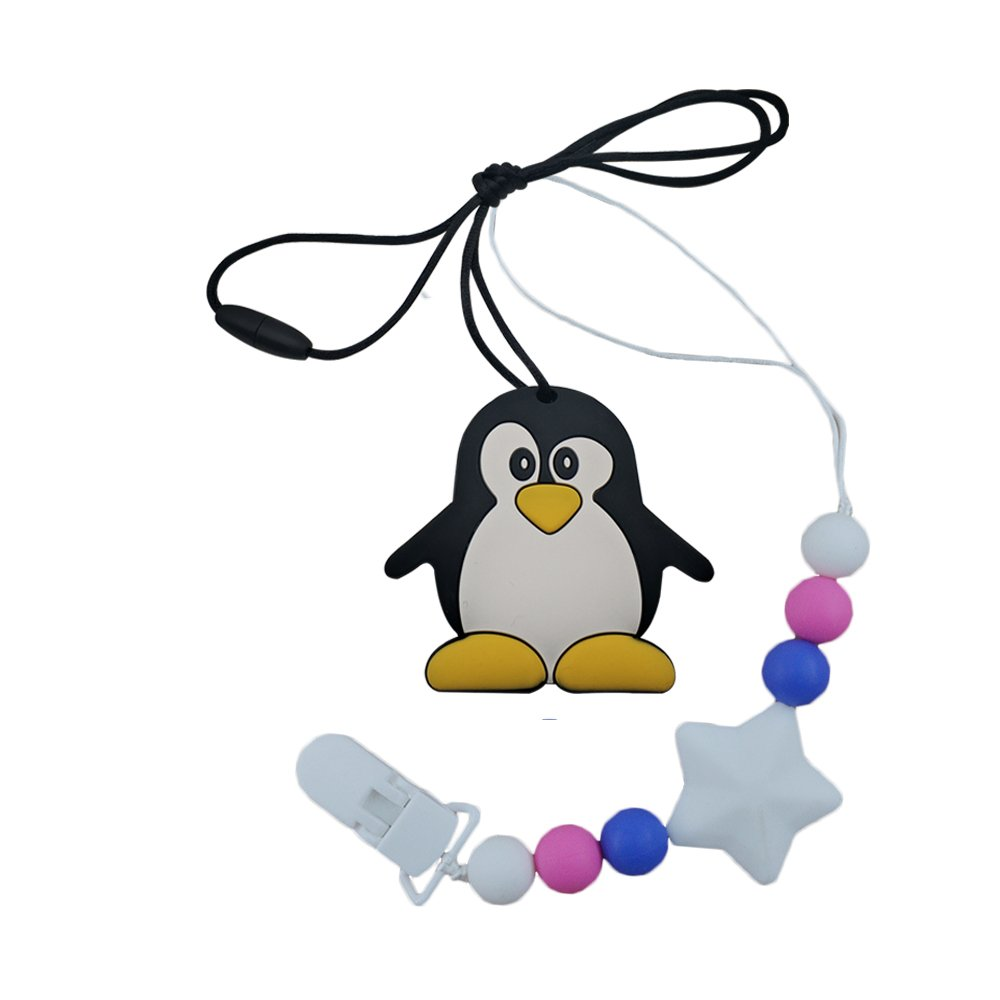 INCHANT Penguin Silicone Teether Necklace Toy & Pacifier Clip - BPA Free Soothing Teething Pendant for Baby Kids and Toddler, Easy to Clean Pain Relief Teether Toy by Inchant