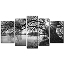 My Easy Art® 5 Pieces Modern Canvas Painting Wall Art The Picture For Home Decoration Black And White Tree Silhouette In Sunrise Time Lake Landscape Print On Canvas Giclee Artwork For Wall Decor