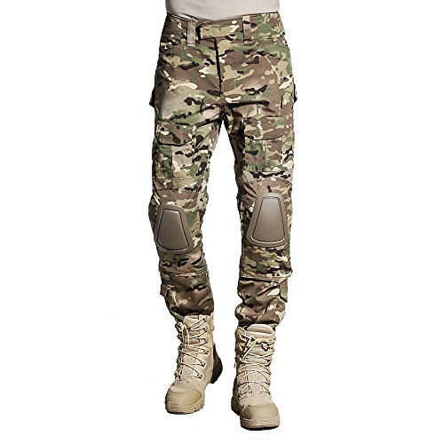 SINAIRSOFT Tactical Pants Shirt with Knee Pads Army Airsoft Combat BDU Pants Camo(Greens, Browns,Black) 2XL Camo Bdu Set Pants Shirt