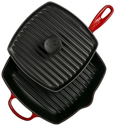 Le Creuset Cast Iron Panini Press and Signature Square Skillet Grill Set, 10 1/4'', Cerise by Le Creuset