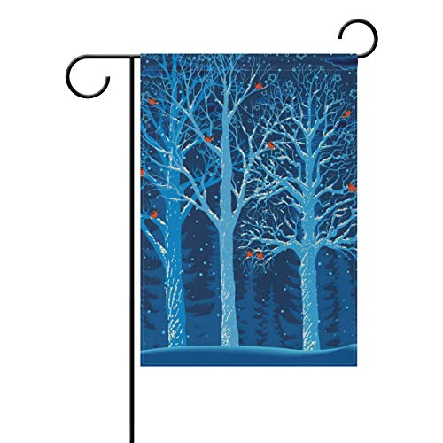 WIHVE Winter Forest Garden Flag 28 X 40 Inch, Christmas Snowflake Tree of Life Birds Holiday House Flag Double-Sided Xmas Seasonal Garden Flags for Home Yard Outdoor Decor