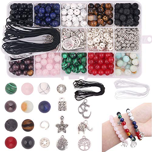 (Dushi 8mm Stone Bead Kit 418pcs DIY Beads Set Loose Amethyst Beads Gemstone Natural Lava Stone Beads with Tool Box & 2 Strings Assorment Finding for Bracelet Jewelry Making Kits (Stone Bead kit))