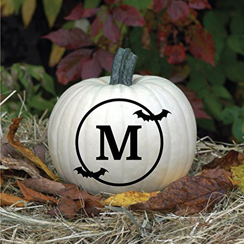 (Pumpkin Vinyl Decal - Halloween Bat Monogram Decoration - Jack O Lantern Art Fall)
