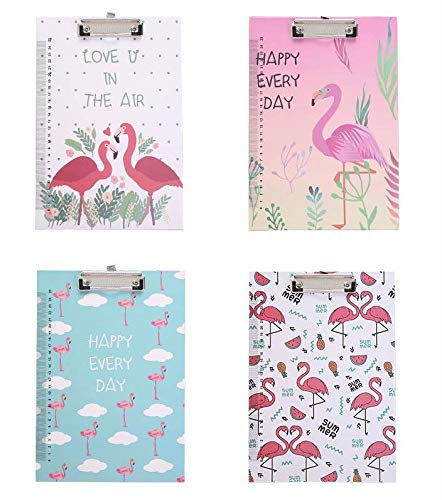 Size A4 Flamingos Clip Board Single Strong clamp Hardboard (Pack of 1,Random delivery)