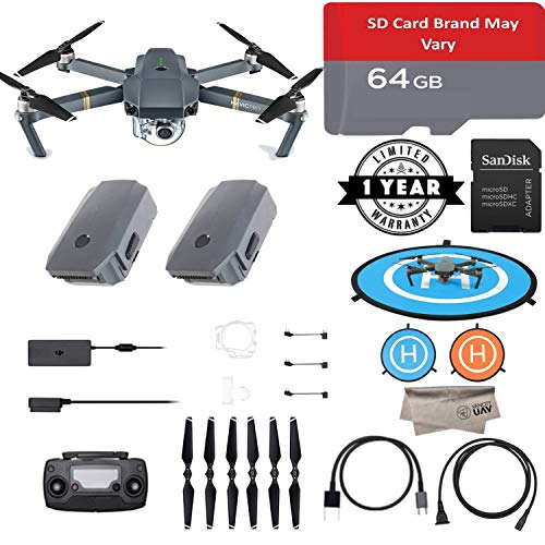 DJI Mavic Pro Quadcopter with Remote Controller, 2 New Batteries, 4K Professional Camera Gimbal, Extra 64GB Micro SD with Adapter, Landing Pad, Microfibre Cloth, 1-Year Wty