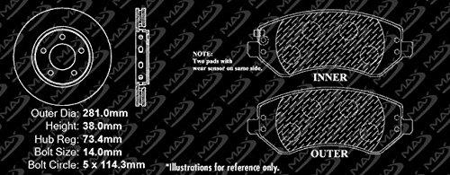 KT010841 Fits: 2003 03 2004 04 Dodge Caravan w//Rear Drum Brakes and 4-Wheel ABS Max Brakes Front Premium Brake Kit OE Series Rotors + Ceramic Pads