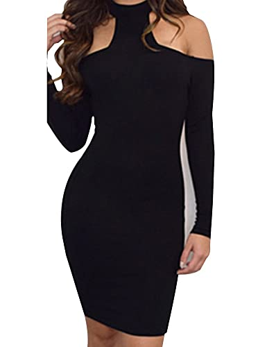 Allegrace Womens Long Sleeve Sexy Off Shoulder Bodycon Party Bandage Club Dresses