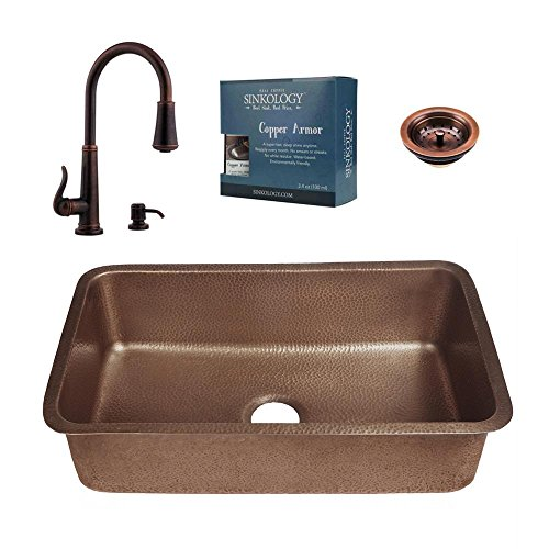 - SINKOLOGY Pfister All-in-One Orwell Copper Undermount 30 in. Kitchen Sink Kit with Ashfield Pull Down Faucet in Rustic B