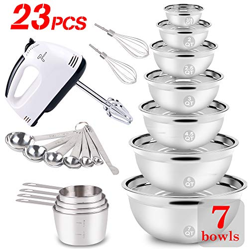 WEPSEN Stainless Steel Mixing Bowls Set Electric Hand Mixer Nesting Mixing Bowl Mixers Beaters Whisk Measuring Cups and Spoons Cooking Prepping Baking Supplies