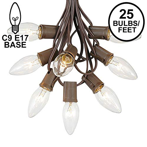 (C9 Clear Christmas String Light Set - Outdoor Christmas Light String - Christmas Tree Lights - Hanging Christmas Lights - Roofline Light String - Outdoor Patio String Lights - Brown Wire - 25 Foot)