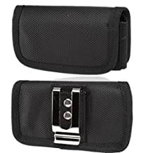 Horizontal Canvas Case with Velcro closure with belt clip and belt loop fits Motorola Moto X with the Otterbox Defender or Commuter Case on it. Perfect for Motorcycle Riders.