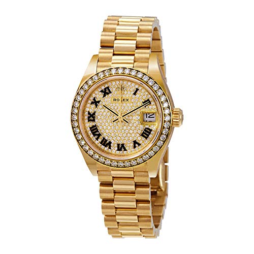 Rolex Lady-Datejust 28 Diamond-Paved Dial Automtic Ladies 18kt Yellow Gold President Watch 279138DRP