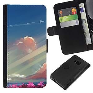 All Phone Most Case / Oferta Especial Cáscara Funda de cuero Monedero Cubierta de proteccion Caso / Wallet Case for HTC One M9 // Abstract Seaside Painting