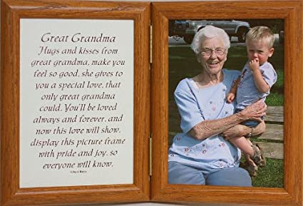 Amazon.com - 5x7 Hinged GREAT GRANDMA Poem Oak Picture Photo Frame ...