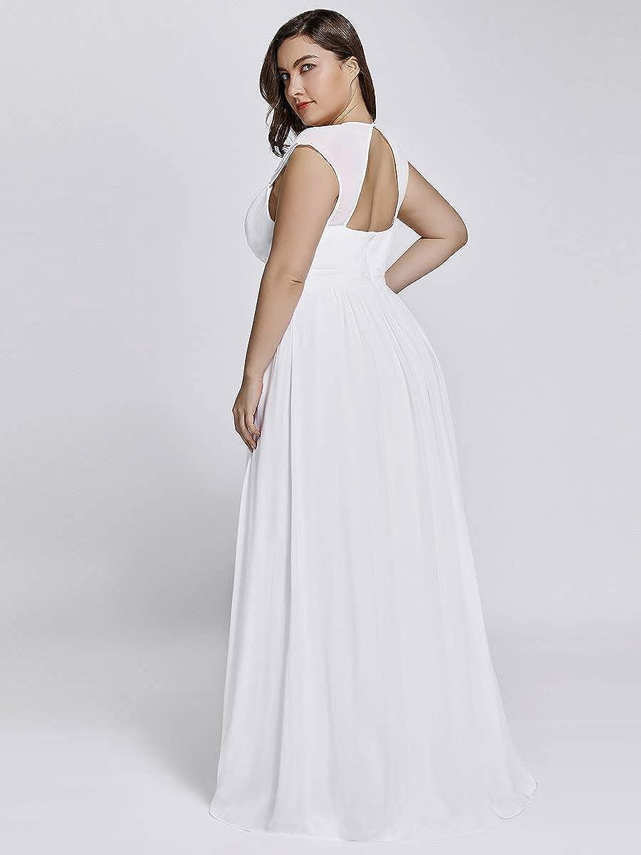 Ever-Pretty Vestito da Damigella Donna Scollo a V Senza Maniche Linea ad A Chiffon Stile Impero Taglie Forti 08697-EU2