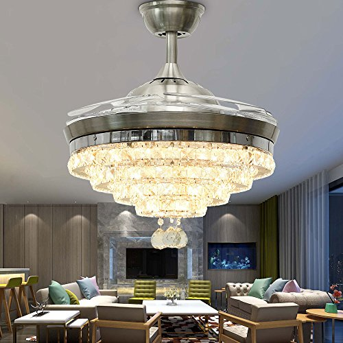 Huston Fan Modern 4 Circle Retractable Ceiling Fan Light for Indoor Bedroom Living Restaurant Hall,LED 3 Color Change-White Warm Neutral,Remote Chandelier with Ceiling Fan,3 Down Rod,42 Inch Silver