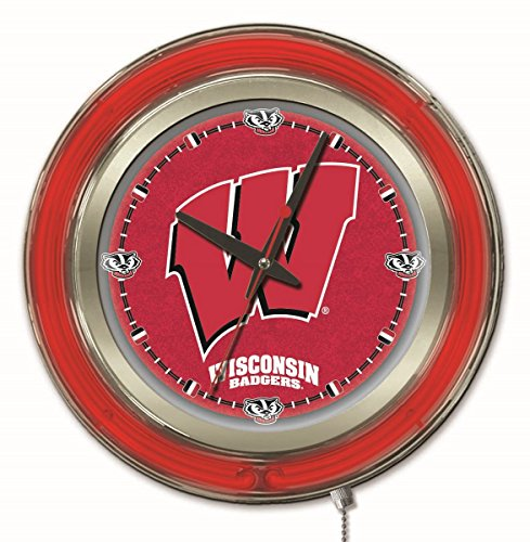 Holland Bar Stool Company NCAA Wisconsin Badgers W Double Neon Ring 15-Inch Diameter Logo Clock ()