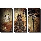 Quadro Decorativo Buda Para Sala e Quarto M4 3 peças