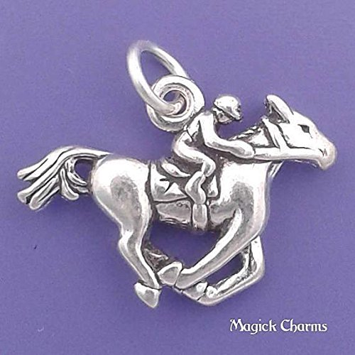 Sterling Silver 3-D JOCKEY On RACE HORSE Charm Pendant - lp2522 Jewelry Making Supply Pendant Bracelet DIY Crafting by Wholesale Charms -