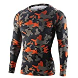 Palazze Mens Camouflage Long Sleeve Compression Shirts Base Layer Jersey Tights Fitness - XL - Orange - Asian Size - Choose 1 Size Up