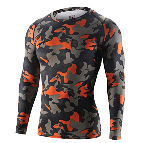B&Y Mens Camouflage Long Sleeve Compression Shirts Base Layer Jersey Tights Fitness - L - Orange