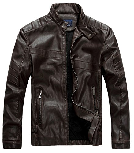 chouyatou Men's Vintage Stand Collar Pu Leather Jacket (X-Small, WZQM111-Coffee) ()