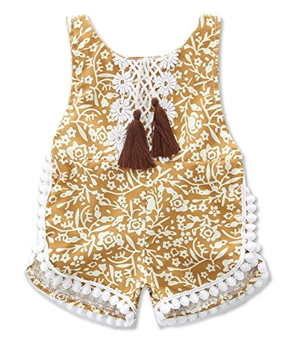 85ce23b7e stylesilove Infant Baby Girl Cotton Lace Flower Sunsuit Romper with Tassels  (90/6-