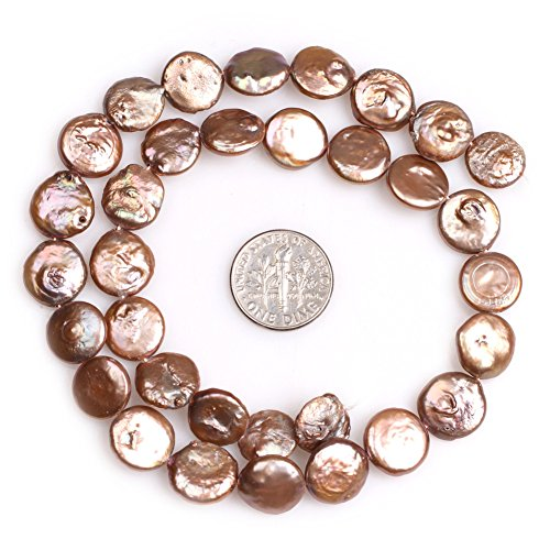 Brown Cultured Earring (Coin Freshwater Cultured Pearls Beads for Jewelry Making Strand 15'' (13mm/Coffe Brown))