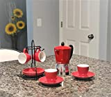 Imusa 8-Piece Espresso Set with Rack in Red