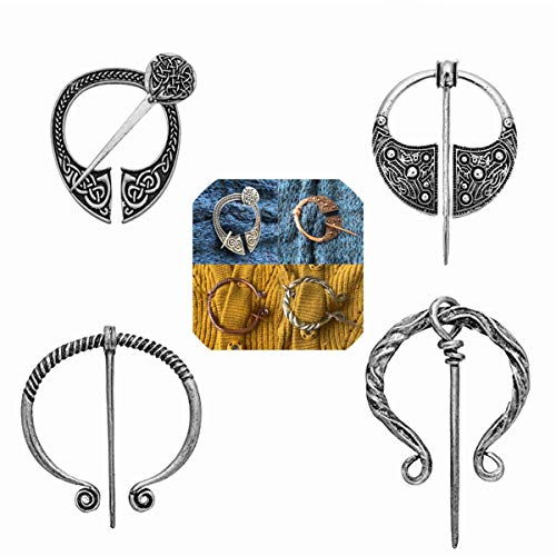 Lilbetter-Club 4 Pack Women Vintage Viking Brooches Pins Scarf Cloak Shawl Buckle Clasp Pin Brooch, Decorative Penannular Clothes Costume Accessories Fashion Jewelry for Girls