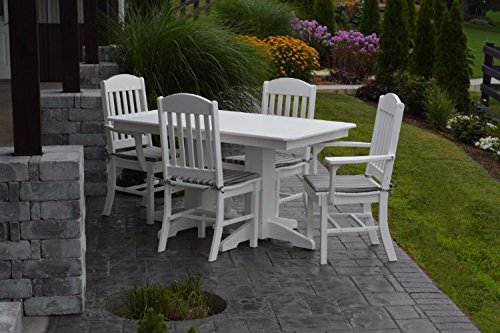 A&L Furniture Amish-Made Poly Outdoor Dining Set: Rectangular Table and 4 Classic Chairs, Aruba Blue
