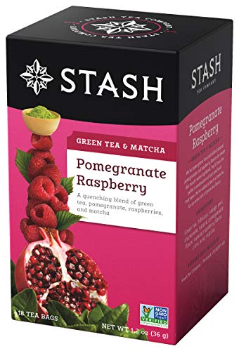 Stash Tea Pomegranate Raspberry Green Tea & Matcha Blend 18 Count Tea Bags in Foil (Pack of 6) (packaging may vary) Individual Green Tea Bags for Teapots Mugs or Teacups, Brew Hot Tea or Iced Tea