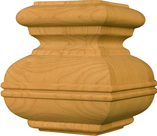 Square Bridle Foot in Alder - Dimensions: 4 1/2 x 3 7/8 inches (Table Alder Square)