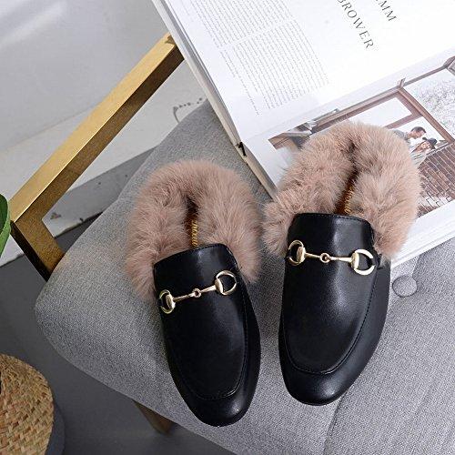 Zapatos de Lana Semiocultos Ocasionales de la Moda Inglesa Redonda con Los Zapatos de Tacón Bajo , negro , EUR38