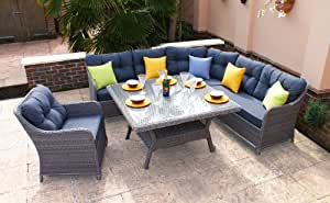 Outdoor Casamore Madrid Corner Sofa Square Garden Dining Set in Natural Grey Colour Rattan Weave