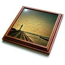 Florene - Landscape - Print of Lighthouse At Sunset With Flock Of Birds - Trivets - 8x8 Trivet with 6x6 ceramic tile - trv_195005_1