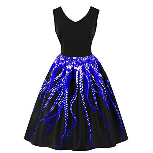 Beauty7 Damen A-Linie Krake Fuhler Sommerkleid Freizeit Kleid 3D  Digital-Print Lang Skater fce332b0fa