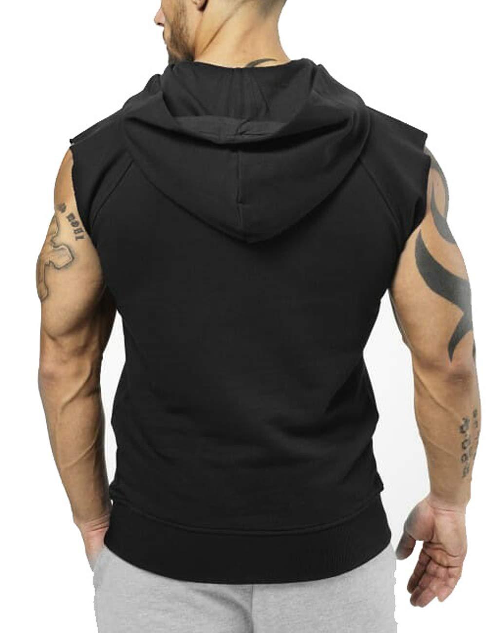 291dd0f17969e2 PAIZH Men s Bodybuilding Sleveless Hoodies Gym Workout Hooded Tank ...