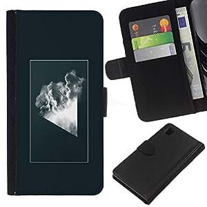 YiPhone /// Tirón de la caja Cartera de cuero con ranuras para tarjetas - Geometría abstracta Nube - Sony Xperia Z1 L39