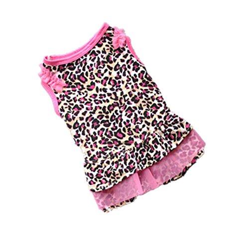Han Shi Pet Shirts,Hot Sale Cute Leopard Print Summer Puppy Dress Small Dog Clothes Apparel (Pink, M) ()