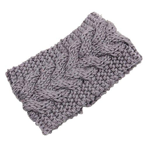 Pusheng Women's Versatile Wool Knit Crochet Twist Hair Band Headband Ear Warmer Light Gray