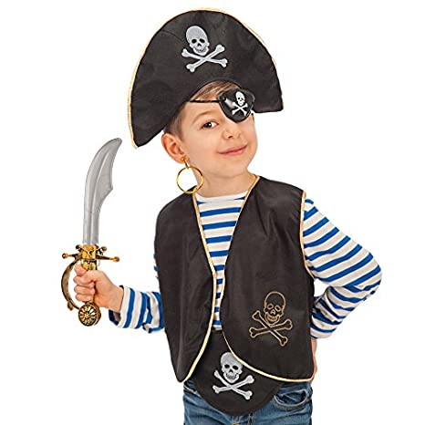 Carnival Toys Set Pirata Bimbo Cappello Benda Gilet Costume Party E  Carnevale 509 63f031600f16