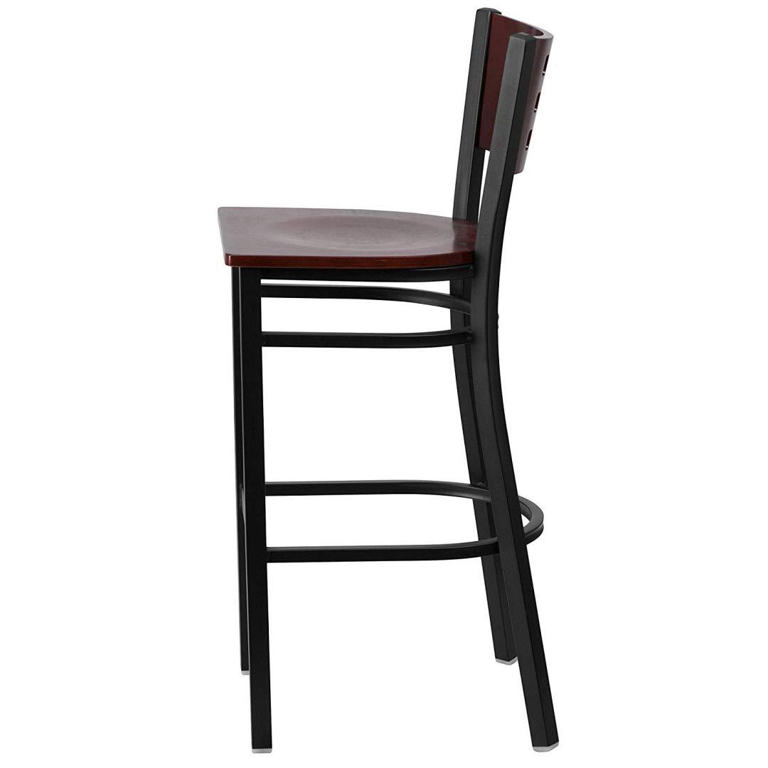Modern Style Metal Dining Bar Stools Pub Lounge Restaurant Commercial Seats Mahogany Wood Cutout Back Design Black Powder Coated Frame Finish Home Office Furniture - (1) Mahogany Wood Seat #2207 by KLS14 (Image #2)