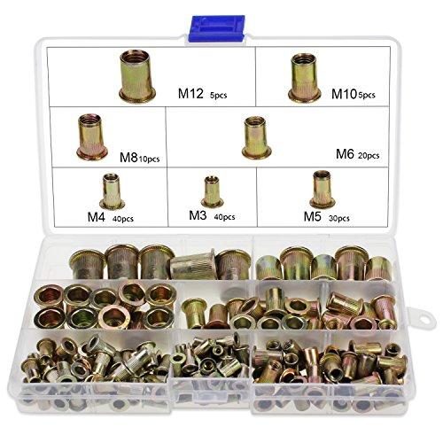 OCR Zinc Plated Carbon Steel Rivet Nut Flat Head Threaded Rivet Nutsert Cap Assortment M3 M4 M5 M6 M8 M10 M12 150PCS (Differnt Nuts)