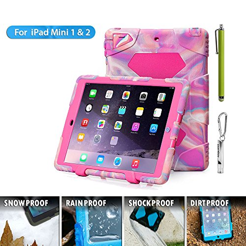 ACEGUARDER ;*Slim Military Heavy Duty* Cover for kids Rainproof Shockproof Drop Resistance with Back Clip for Apple Ipad mini 1/2/3 (Ice/Rose)