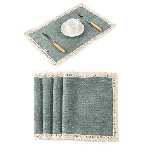 Nobildonna PaleTurquoise 18×13 Inch Lace Placemats for dining table Set of 4 Table Heat Insulation Wedding Party Decoration