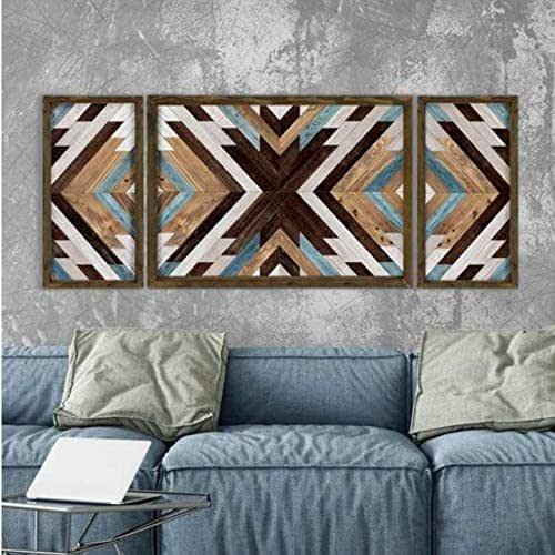 Cuadro salón decorativo madera. TRIPTICO. Arte de pared, decoración,moderno.